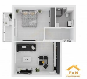 APPARTEMENT NEUF - 1 CHAMBRE  Bel apartement de haut standing, d'environ +/-56m2 habitables, situé au 1er  étage d'une résidence avec 4 unités, se compose d'un hall d'entrée, living avec cuisine ouverte, couloir, une chambre, un balcon de 4.80m2 et une salle de douche / bain.   Caractéristiques: Fenêtres triple vitrage, volets électriques, VMC double-flux, carrelages et/ou parquet, sanitaire et carrelage pour salle de bains au choix du client. Autres pièces carrelage gris / beige.  Transport publics : Arrêt de bus à moins d'1min,  Accès autoroute A3 / A13 à moins de 3km,  Disponibilité : 10/2020   1 emplacement extérieur à partir de 22'000€.  Les prix annoncés comprennent la TVA 3%.   Pour toutes autres informations, n'hésitez pas à nous contacter !  E-Mail : info@fn-promotion.lu  GSM : +352 621 139 988   ---------------  Wohnung mit einer Wohnfläche von ca. 56m2 im 1. Stockwerk einer Residenz mit 4 Einheiten, bestehend aus einer Eingangshalle, einem Wohnzimmer mit offener Küche und Zugang zu einem Balkon von 4.80m2, einem Schlafzimmer, einem Badezimmer.   Charakteristiken: Dreifachverglasung, elektrische Rollläden, mechanische Ventilation (VMC double-flux), Vorbereitung für Ladestation (elektrisches Auto) Fliesen und / oder Parkett, Sanitär und Fliesen im Badezimmer nach Wahl des Kunden! Für andere Bereiche sind entweder graue oder beige Fliesen vorgesehen.  Öffentliche Verkehrsmittel: Busstation weniger als 1 Minute entfernt.  Autobahnanschluss A3/A13: weniger als 3km  Verfügbarkeit: 10/2020   Außenstellplatz ab 22'000 €.   Die Preise sind inklusive 3% TVA angegeben.   Für weitere Fragen oder Informationen zögern Sie bitte nicht uns zu kontaktieren!  E-Mail: info@fn-promotion.lu  Mobil: +352 621 139 988