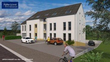 Nouvelle résidence 6 appartements à Hollenfels. En situation agréable et surélevée vous profiterez d'une vue étendue sur le village, avec son chateau médiéval, et la vallée de l'Eisch.  Les corps de métiers choisis sont des entreprises Luxembourgeoise de renommé ireprochable. Service après-vente garantit!  Appartement 3 au 1ier étage: Grand séjour de 39,3 m2 avec cuisine ouverte (séparable), hall de nuit, 3 chambres à coucher, salle de bains, débarras, WC séparé, terrasse couverte, cave, 1 parking intérieur et 1 parking extérieur.  Le prix affiché comprend 103,90m2 de surface habitable, 21,8m2 de terrasse couverte, les parkings, une cave de 3.90m2 et 3% de TVA  L'équipement de base comprend un standard élevé, tel que videophone, douche italienne, VMC double flux individuel par appartement, etc.  Documentation détaillée sur demande Ref agence :725776