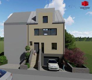 Nouvelle construction d'une maison libre de 3 côtés (classe BB - orientation plein sud) avec une surface habitable de  /- 197 m2 (surface totale: 265 m2) sur un terrain de  /- 3,11 ares dans un quartier calme à Pétange. Sous-sol: Hall/stockage (12,78 m2), buanderie (8,34 m2), chaufferie (5,43 m2 ) et un garage pour 2 voitures (41,64 m2); Rdch: Hall d'entrée (17,60 m2), cuisine non équipée ouverte sur séjour et salle à manger (41,16 m2) donnant accès sur une belle terrasse ensoleillée (26,73 m2) et au jardin, bureau / chambre à coucher(18,58 m2) et un WC séparé (1,81 m2); 1er étage: Hall de nuit (14,79 m2), 3 chambres à coucher (10,30 m2, 15,76 m2 et 15,03 m2), salle de douche (10,48 m2) et débarras (4,81 m2); 2e étage/combles: chambre parentale spacieuse (39,99 m2) avec salle de douche et WC (6,69 m2) La situation de cette maison profite à la fois du calme de la rue CM Spoo ainsi que de la proximité toutes leurs commodités quotidiennes de la ville de Pétange. Prix: 1.210.850.-€ ? 3% TVA incl. * dont prix du terrain 495.000€. * sous condition d'acceptation par l'Administration de l'Enregistrement et dans les limites fixées par la loi. Les honoraires d'agence sont à charge du vendeur.
