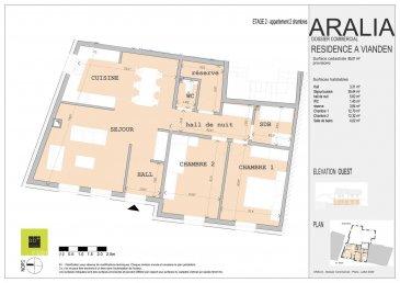 L\'agence immobilière Christine SIMON, vous présente en exclusivité cette nouvelle Résidence ARALIA qui sera implantée sur un terrain dans la Commune de VIANDEN, 95 GRAND-RUE.<br>Début de construction 2020 livraison 2022.<br>Passeport énergétique A-A<br>Construction matériaux haut de gamme.<br><br>Appartement 4 au deuxième étage de deux chambres à coucher et d\'une surface de 85,01 m2,<br>Il se compose comme suit:<br>Hall d\'entrée, wc séparé, séjour, cuisine ouverte, 2 chambres à coucher, salle de bain, débarras.<br>Une cave privative, local technique, local poubelle communs.<br><br>Pour de plus amples renseignements, un rendez-vous ou le cahier de charges et les plans, contactez l\'agence au numéro 621 189 059 ou cs@christinesimon.lu<br>