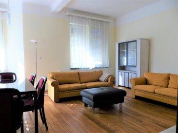 Ce bel appartement de ± 76m², meublé et entièrement équipé, se trouve à deux pas de l'avenue de la Liberté entre le centre-ville et la gare, à proximité des bus, des commerces, des restaurants et des écoles . Il se compose comme suit:  Au 2ème étage: d'une entrée de ± 5m² avec un WC séparé; d'un grand séjour de ± 32m² avec double exposition; d'une cuisine ouverte et équipée de ± 12m²; d'une chambre de 18m² avec son coin bureau; d'une salle de bain/douche de ± 7m² avec lavabo.  Au sous-sol: d'une buanderie commune avec un lave-linge et sèche-linge privatifs et une cave privative  Généralités:  Très central, possibilité de tout faire à pieds Tout équipé – lave vaisselle, machine à café, grille-pain, aspirateur, télévision etc.. Loyer € 1.800,- /mois Charges € 200,- / mois tous compris (chauffage, eau, poubelles, télévision etc..) sauf électricité et abonnement internet. Caution – garantie bancaire ou virement - 2 mois de loyer soit € 3.600,- Commission agence – 1 mois de loyer + 17% TVA soit € 2.106,- Contrat minimum 1 an Libre de suite  CONTACT: Jimmy de Brabant +352661167494