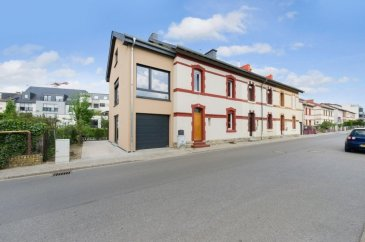 LUXEMBOURG-HOLLERICH: entirely renovated historical town house and newly built extension of + - 180 m2 situated between the newest district of cloche d'or and the city centre, near the International School of Luxembourg and all amenities. Fast access to the highway. 10 minutes-walk to central station, 5 minutes bike ride to Petrusse parc and 10 minutes to the city centre.   Renovated historical house (123,1 m2) including: Ground floor: entrance hall, separate toilet, kitchen fully equipped, living / dining room with access to the terrace. 1st floor: hall, two bedrooms, bathroom 2nd floor: bedroom, bathroom basement: laundry room, heating room   Newly built extension of the house (3 floors; 57 m2) with 2 separate entrances (perfect to rent out):   Ground floor: entrance hall, bathroom, garage/office (with acces to the terrace) 1st floor: living / kitchen 2nd floor: bedroom, bathroom