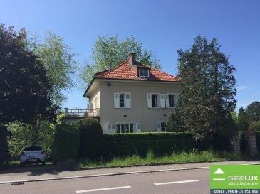 A LOUER : Magnifique maison avec grand jardin de rêve et vue imprenable sis à 158, route de Luxembourg L-7374 Bofferdange. La maison de charme a une surface habitable de 202,75 m2 et dispose de 6 chambres à coucher et une grande garderobe. L'entrée unique avec un chemin en pavé qui donne accés à une magnifique terrasse avec un grand jardin arboré et fleurie. La maison dispose entre autre d'une belle véranda et un balcon. ---------------------- SURFACES : Rez-de-chaussée : - Hall d'Entrée - 15 m2 (Carrelage) - Débarras - 3 m2 (Carrelage) - WC séparé - 2 m2 (Carrelage) - Living + Séjour avec accés véranda - 35 m2 (Parquet) - Nouvelle Cuisine équipée avec accés balcon - 15,50 m2 (Parquet)  1ier étage : - Cage escalier avec Hall de nuit - 11,55 m2 (Parquet) - Chambre 1 - 19,80 m2 (Parquet) - Chambre 2 - 13 m2 (Parquet) - Chambre 3 - 9,65 m2 (Parquet) - Chambre 4 - 7,15 m2 (Parquet) - Salle de bains - 11,55 m2 (Parquet) - WC séparé - 1,65 m2 (Parquet)  2ième étage : - Cage escalier avec Hall de nuit - 12 m2 (Parquet) - Salle de douche - 11,10 m2 (Parquet) - Chambre 1 - 8,80 m2 (Parquet) - Chambre 2 - 5,5 m2 (Parquet) - Garderobe - 17 m2 (Parquet) - Débarras - 4 m2 (Parquet)  Sous-sol : - Garage : - 23 m2  - Chaufferie + Buanderie - 11 m2 - Cave 1 : - 13,75 m2 - Cave 2 : - 9,20 m2 - Cave 3 : - 8 m2 - Cave 4 : - 7,75 m2 - Cave à vin : - 1,65 m2  ---------------------- LES + - Nouvelle cuisine - Nouvelle salle de douche - Nouvelle peinture - Vue imprenable - Grande terrasse avec un magnifique jardin arboré et fleurie - Véranda et balcon - Garage pour 1 voiture et plusieurs emplacements à l'extérieur - Disponible: 01.08.2018 -----------------------  Pour plus de renseignements ou une visite veuillez contactez : SIGELUX : 46 71 31 ou info@sigelux.lu