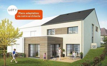 RE/MAX FORUM, spécialiste de l'immobilier au Grand-Duché de Luxembourg, vous propose à la vente cette maison en future construction LOT 1 située dans un nouveau lotissement sur un terrain de +- 5,88 ares et comprenant:   Sous-sol : un hall et 3 caves d'une surface totale de +- 50m2  RDC : un hall avec coin vestiaire, un garage pour deux voitures, un local technique, une cuisine ouverte, un cellier, un living avec accès sur une terrasse arrière et un WC séparé.  Etage +1 :  quatre chambres à coucher, une salle de douche, une salle de bains, un local technique/buanderie et un grand hall de nuit  Volets avec commandes motorisées  Chauffage au sol   Terrain avec contrat de construction pour une maison sur le terrain  lot 1  Le prix s'entend à 3% TVA (sous réserve d'acceptation par l'Administration de l'Enregistrement).  Classe énergétique A-B ( réglementation grand-ducale au 01/01/2015 ) Ref agence :Aspelt Lot 1