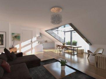Appartement duplex de +/- 98.91m2 avec un grenier de 32.89m2 comprenant un hall d'entrée, 2 chambres(20.09);(14.69), salle de bains, WC séparé, salon-salle-à-manger (35.57m2)avec une terrasse de 7.79m2 ainsi qu'une cave. Des emplacements extérieurs, des carports et des garages box fermés sont disponibles en option.  Prix affiché à 3% TVA.  En option vous pourrez bénéficier : Emplacements extérieurs à 10.000,00€ Carports à 15.000,00€ Garage box fermé à 30.000,00€.  Le projet aux finitions de grande qualité et aux matériaux choisis avec soin, respectent une démarche environnementale très ambitieuse dont tous les logements sont certifiés de classe énergétique BBB