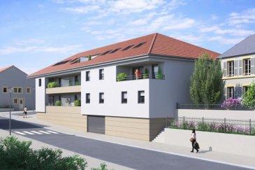 Appartement de 3 pièces composé d'une entrée, d'un dégagement, de 2 chambres, d'une cuisine ouverte sur le séjour, une salle de bain avec baignoire, un meuble vasque, et  WC séparé. Une balcon de 9.36m2. Un parking en sous sol et un local à vélo et (local OM prévus) Possibilité d'un garage fermé (14000€)