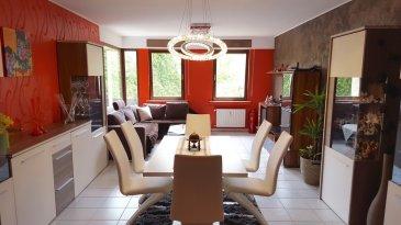 DUDELANGE, 449.000 Euros.  Bel appartement d'une surface habitable de +-100m2 au 1ier étage d'une résidence située au calme.   Ce bien dispose d'un vaste hall d'entrée de +-15m2 avec accès aux différentes pièces, living-salle à manger (+-28,64m2), cuisine équipée séparée (+-11,49m2) avec accès balcon (+-6m2), débarras, 2 chambres à coucher (+-14m2/+-14,64m2), 1 salle de douche avec douche italienne.  Sous-sol: cave privative (+-7m2), buanderie commune.  Garage box fermé pour 2 voitures et espace rangement ou pour motos (+-40m2)  Equipements: Dalles en Béton, cuisine équipée (+-2015), électricité refaite dans tout l'appartement (+-2014), salle de douche toute refaite (+-2015) Double vitrage, chauffage gaz, parlophone...  Proche de toutes commodités, arrêts de bus à 2 pas, bonne connexion autoroute, commerces à proximité  Super Affaire à saisir...   ***HERBY IMMO = MEILLEURS PRIX DU MARCHE***   (Herby Immo vous garantit le prix d`achat le moins cher du marché)
