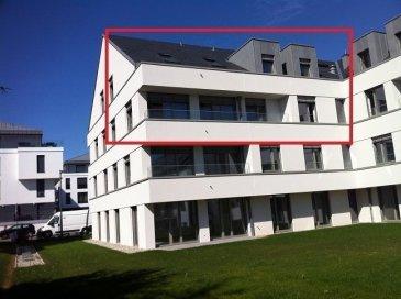 Duplex n.2.6 de 151,43 m2 à louer dans la Résidence MARIE. 7, rue Aline Mayrisch de Saint-Hubert, L-8096 Bertrange.  Cet appartement sis au 2e et 3e étage et composé comme suit:  2 ème étage:   hall d'entrée, WC séparé, une cuisine équipée et semi-ouverte, un living de 42m2, une chambre à coucher de 14,28m2 et une salle de bains (baignoire, cabine de douche et double lavabo).  3ème étage:  une galerie-bibliothèque de 11m2, 2 chambres à coucher, un WC séparé et une salle de bains (baignoire, cabine de douche, double lavabo).  Sous-sol: - une place de parking, - buanderie commune, - cave privative.  La résidence MARIE se situe dans une rue très calme de la commune de Bertrange, qui compte parmi les communes les plus recherchées notamment pour son excellente infrastructure. Ecoles maternelles et élémentaires, centre culturel, restaurent, les centres commerciaux
