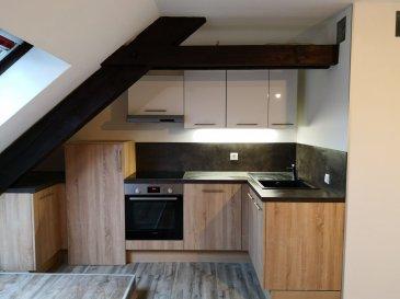 BELARDIMMO Mondorf-les-Bains vous propose en exclusivité un duplex de 54 m² à louer à Wintrange au 2ème étage sans ascenseur. <br>L\'appartement se trouve à deux pas de la Moselle et à proximité de toutes commodités.<br><br>Il se compose ainsi : <br><br>- Hall d\'entrée <br>- Séjour<br>- Chambre<br>- Cuisine équipée <br>- Emplacement extérieur  <br>- Cave<br><br>Loyer 890€ + 190 charges<br><br>Disponible le 15 avril<br><br>Pour plus d\'informations contactez-nous au 661 57 25 02.