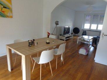 Appartement Hettange Grande 3 pièce(s) 93.92 m2. Au coeur du village 13 rue Patton, proche de la frontière luxembourgeoise,  appartement  de 93 m² comprenant : une grande entrée avec placard, une cuisine équipée avec  plaque induction, lave vaisselle, hotte et évier, réfrigérateur à prévoir, une  salle de douche de  7.83 m² avec WC ainsi que deux chambres  (13.87 m² avec placard , 15.84 m²), un salon -séjour traversant de 33.78 m² avec accès terrasse couverte de 9.38 m².<br/>Une cave et une place de parking privées à l\'arrière du bâtiment complètent ce bien.<br/>Loyer HC : 830.00 €<br/>Provisions  pour charges : 140.00 €/mois ( gaz, eau, électricité des communs et entretien de la chaudière).<br/><br/>Libre le 19 octobre 2020<br/><br/>IMMO DM  06-11-98-36-91<br/>