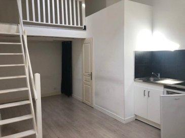 1 pièce - 25 m2.  Studio situé au deuxième étage d'un immeuble au centre de Nancy. Il comprend une entrée, une kitchenette, un coin nuit en mezzanine, une salle d'eau et WC séparé.  Chauffage individuel électrique.