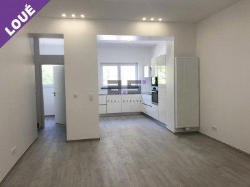 A.S. Real Estate vous propose à la location ce bel appartement entièrement rénové situé au premier étage d'une petite copropriété de quatre logements au Centre-Ville d'Esch-sur-Alzette.  Celui-ci est composé d'un living de +/- 20m², d'un espace cuisine de +/- 10m² entièrement aménagée et équipée en électroménager, d'un hall de nuit desservant deux grandes chambres de +/- 16m² et +/- 11.40m², d'une salle de douche de +/- 6m² équipée d'une cabine de douche, d'un lavabo sur meuble avec miroir, d'un w.c. et d'un espace buanderie de +/- 2m².  Ce bien est complété d'une cave privative et d'un petit espace privatif pouvant être utilisé comme débarras.  Pour de plus amples informations ou pour convenir d'une visite, n'hésitez pas à nous contacter au (+352) 621 274 674 / 621 273 737 ou à info@as-estate.lu