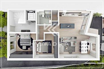 Dans le quartie Le'h sera construcite une résidence de grand standing avec une vue imprenable dans un quartier de qualité.  L'appartement se trouve dans une résidence de seulement 3 appartements. Il se compose de: - Deux grandes chambres à coucher de 16m2 et 14m2 - Salle de douche - W.C. séparé - Cuisine ouverte avec living et grand living de 39m2 - Grande terrasse de 11,89m2  L'appartement disposera d'une finition de très haute qualité avec: - revêtments de sol de 70€/m2 - salle de bains de qualité - peinture intérieure - chauffage au sol - triple vitrage - ...  L'appartement profitera d'une assurance bi et décennale d'une grande assurance du Luxembourg.  Images 3D non contractuelles.