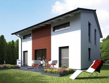 Energiespar-Haus Bielefeld   Wohnfläche: 130m²  Hausgröße:  9,95m  x  8,70m    WICHTIG: Das abgebildete Haus ist ein Planungsbeispiel. Abweichungen können sich ergeben