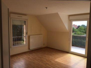 Appartement T3 de 72m2 ROUTZENHEIM. A Rountzenheim; dans un quartier résidentiel, et à proximité immédiate des commerces, appartement de type F3 - 72m2 - lumineux et calme avec balcon. Il comprend <br>- une entrée <br>- une cuisine (à équiper)<br>- deux chambres <br>- une salle de bain avec WC <br>Il comprend en plus une cave et un garage <br>Chauffage collectif au GAZ. <br>Disponible de suite.<br>Loyer : 676€ charges comprises (dont 120€ de provisions sur charges avec régularisation annuelle)<br>Dépôt de garantie : 556€ TTC<br>Honoraires de location :720€ TTC (dont 144€ TTC pour l\'état des lieux)<br>HEBDING IMMOBILIER<br>03.88.23.80.80<br>Loyer 676.00  euros par mois  Charges comprises dont<br>- 120.00  euros de provision sur charges - régularisation annuelle<br> Honoraires charge locataire : 720.00 euros TTC dont 144.00 euros TTC pour état des lieux