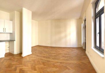 République /  Vosges : Au coeur de la Neustadt, dans un immeuble ancien entièrement rénové : Au 4e étage, 5 pièces comprenant :  Entrée, dégagement, séjour avec cuisine ouverte équipée et balcon, quatre chambres dont une avec balcon sur cour, une salle de bains, une salle de douche avec wc, un wc invités avec lave mains.