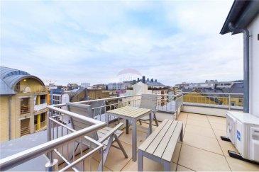 Veuillez contacter Quentin Habigand pour de plus amples informations : - T : +352 661 807 562 - E : quentin.habigand@remax.lu  RE/MAX, Spécialiste de l'immobilier à Luxembourg, vous propose, à la vente, ce magnifique PENTHOUSE/DUPLEX de 2 chambres situé à Luxembourg-GARE. Il se situe au quatrième et cinquième étage avec ascenseur, la résidence a été construite en 2015. L'appartement propose une superficie habitable de 100 m². À SAISIR  Il se compose comme suit : Un hall d'entrée de 4,4 m² qui donne sur une salle de douche avec WC de 5,4 m², puis sur une chambre de 15,2 m². L'appartement a un séjour ouvert sur la cuisine de 30 m². Il y a beaucoup de fenêtres qui rendent la pièce très lumineuse.  À l'étage, une magnifique suite parentale de 23 m² (large dressing sur mesure) avec une salle de bain de 4 m² donne accès à la terrasse de 30 m² (orientation sud-ouest avec deux salons d'extérieurs). Vous disposez d'une vue sur les toits de la ville. L'appartement est neutre et intemporel, il est parfait pour votre emménagement immédiat. PAS DE TRAVAUX À PRÉVOIR  Pas de parking privé (un abonnement spécial résident est prévu pour le parking situé à 50 m de la résidence estimé à 165 € mensuels).  LE LIEN DE VISITE VIRTUELLE 3D vous donnera un premier aperçu des prestations : https://premium.giraffe360.com/remax-select/88544e3f15bc4d708cf787f057dfa3b4/  Les prestations supplémentaires : - Le séjour ainsi que la salle de bain proposent des hautparleurs intégrés BOSE pour votre confort (Bluetooth) - Parlophone et caméra de vidéo-surveillance du palier - Chauffage au sol - Volets électriques intégrés dans toutes les fenêtres - Sols : haut de gamme (parquet bois) - Éclairages intégrés, design et économiques (luminosité contrôlable) - Cuisine de standing (SIEMENS) - Climatisation suite parentale - Triples vitrages  Proches de toutes commodités : - Accès en voiture aisé - Proximité immédiate de la Gare et du Centre-ville. Accès direct au bus. Proche des écoles. - Proche de tous comme