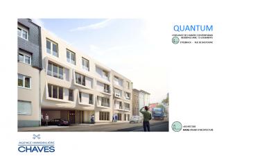 L'agence CHAVES VOUS PRESENTE LA NOUVELLE RESIDENCE QUANTUM: L'ELEGANCE DE L'HABITAT CONTEMPORAIN LE PROJET QUANTUM: Pensé par l'architecte Türkan DAGLI, situé au début de la Rue de Bastogne à Ettelbruclk (100 mètres de la Place du Marché), le projet est composé de 15 appartements d'une à trois chambres à coucher. La résidence s'élève sur quatre niveaux (rez-de-chaussée + 3) et un niveau en sous-sol(caves et emplacements de parking).  APPARTEMENT au  2. et 3. Etage (Duplex) de 103,01 m2 + terrasse 4,83 m2, 3 chambres à coucher ( 14,01 m2 + 10,31 m2 + 14,01 m2) (4,83 m2), Living + Cuisine, 2 Salles de douche privatives, Buanderie, Caves, Triple vitrage, Ascenseur, W.C. séparé, Videophone, Chauffage au Sol, Pompe à chaleur.