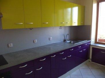 Appartement de type F3 comprenant une cuisine aménagée et équipée (plaque, four, hotte), un salon, deux chambres, une salle de douche, un WC séparé, chauffage individuel au gaz.
