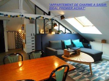*LONGEVILLE-LES-METZ,APPARTEMENT DE CHARME A DECOUVRIR*. Idéalement situé, proche du plan d' eau et du centre ville de Metz, dans un bel immeuble de 3 habitations, à saisir cet appartement (type Loft) de type F2 alliant charme et caractère. Celui-ci est situé au deuxième et dernier étage d'une copropriété bénévole et bénéficie de très faibles charges. D'une superficie utile de 69 m² au sol,  41 m² en loi carrez, vous y découvrirez son entrée pouvant servir de coin bureau, sa pièce à vivre comprenant une cuisine entièrement équipée et aménagée avec goût, sa salle d' eau comprenant une douche italienne, meuble vasque et wc, sa chambre. Cet appartement 'coup de coeur' aux poutres apparentes  bénéficie de  la climatisation réversible et d'une cave. * Les visites auront lieu uniquement après un premier échange téléphonique* Contacter Sandrine Di Francesco au 06 33 83 40 82  ( titulaire de la carte professionnelle de la chambre des commerces   (Siret 78900935400018 ) . Copropriété de 3 lots (Pas de procédure en cours). Charges annuelles : 720.00 euros.
