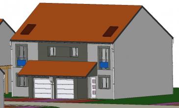 A Piedmont (Mont-Saint-Martin), dans un environnement calme, Nouveau lotissement, proche commodités, Maison jumelée, 1 garage 1 voiture, 2 places de parking, RDC: entrée, cuisine ouverte sur séjour (34.80m²), w-c (1.70m²), ETAGE:  3 chambres(9.6/12.5/12.5m²), SDB avec w-c (5.80m²),  palier (3.30m²),  sur 2.46 ares de terrain. Livraison prévue au 3èmeTrimestre 2022.