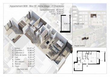 Lot B09 - Surface utile 83,43 m2- Appartement-balcon, de 69,74 m2 habitable, 6,85 de balcon, au quatrième étage avec ascenseur dans la Résidence OPUS à Differdange. il se compose comme suit: Hall d'entrée, toilette séparée, séjour, salle à manger, cuisine entièrement équipée ouverte, balcon, débarras (Cellier), hall de nuit, 2 chambres à  coucher (9,98 et 15,86 m2), salle de bain. Au split-level un emplacement intérieur et au sous-sol une cave privatif de 6,84 m2. L'appartement sera livré clé en mains fini. Nos prix sont affiché à 3% de TVA. Pour de plus amples renseignements contactez Christine SIMON Tel: 621 189 059 ou 26 53 00 30 ou par mail: cs@christinesimon.lu. Ref agence :B09- Bloc B - Appartement