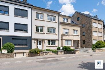 Située à Esch-sur-Alzette, cette maison de ville construite en 1949, rénovée et très bien entretenue aux fils des ans présente une surface habitable de ± 151 m² pour une surface totale de ± 245 m². Elle se compose comme suit :  Le rez-de-chaussée est composé d'une entrée ± 16 m² vous accueille et mène vers une cuisine ± 9 m² équipée et aménagée donnant accès à un balcon ± 17 m². Un salon et salle à manger ± 31 m² complètent cet étage.  Le 1er étage, comprend un palier en terrazzo ± 5 m² qui dessert 2 chambres ± 15, 16 m², un bureau ± 5 m² et une salle de bain ± 8 m² avec lavabo double vasque et WC.  Le 2ème étage, sous les combles, un palier ± 5 m², distribue les accès à 2 chambres de ± 13 et 16 m², à un bureau de ± 6 m² et à une salle de douche ± 8 m² entièrement carrelée avec WC.  Au sous-sol, vous trouverez un palier ± 15 m² où se trouve la chaudière à condensation, une buanderie ± 7 m², une cave ± 6 m² situé sous le balcon, un garage de ± 32 m² pouvant accueillir 2 voitures et un WC séparé ± 1,5 m². une porte permet d'accéder au jardin (clôturé et sécurisé).  Un emplacement extérieur devant le garage complète l'offre.  Généralités :  Maison de 1949 en bon état, idéale pour une famille avec enfants; Double vitrage, châssis PVC, volets manuels, velux; Chaudière condensation Weishaupt, chauffage par radiateurs; Sols en parquet, carrelage, terrazzo; Toiture en ardoises en bon état; Cuisine équipée et aménagée; Garage 2 voitures, cave accessible par l'extérieur, buanderie, chaufferie; Jardin (clôturé, sécurisé) avec abris de jardin en bois;  Proche du centre hospitalier Emile Mayrisch d'Esch-sur-Alzette Ecoles, crèches, parc et aires de jeux, ... Supermarché, pharmacie, médecins, dentistes, kinés, vétérinaires, laboratoire d'analyses, ...  Agent responsable : Gaëtan LUPINACCI Email : gaetan@vanmaurits.lu GSM : (+352) 671.157.120