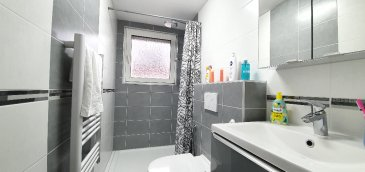 Maison mitoyenne à Sarreguemines. Belle maison mitoyenne comprenant un hall d'entrée, une cuisine équipée, un salon séjour, 3 chambres, une salle de douche avec un WC et un WC séparés, une terrasse. Un sous-sol complet ainsi qu'un garage une voiture le tout sur un terrain d'environ 4 ares.