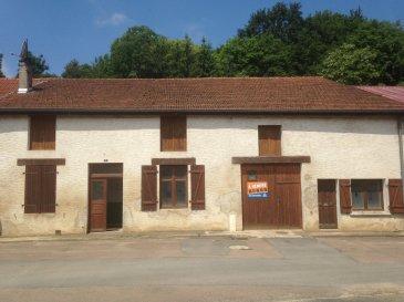 vaste maison de village aux beaux volumes comprenant entrée, cuisine, séjour, 3 chambres, bureau, grange attenante, grenier, cave, terrain attenant.