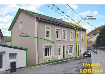 L'agence IMMO LORENA de Pétange en collaboration avec FRONGIA SARL Agence Immobilière a choisi pour vous cette Magnifique maison avec une partie privative et une autre partie locative, construite dans les années 50 et complètement rénovée en 2015 à vendre à Herserange, insérée sur un magnifique terrain goudronné de 6 ares 59 centiares, venez découvrir cette très belle maison individuelle de 170 m² habitables dans la partie privative construite avec des matériaux de qualité.   Elle se compose de la manière suivante :  PARTIE PRIVATIVE: - Au sous sol : un magnifique garage de 140 m2 pour minimum 5 voitures et un espace de rangements et plusieurs caves.  AU REZ-DE-CHAUSSÉE : - Hall d'entrée ,WC séparé, jolie cuisine entièrement équipée et ouverte vers, un chaleureux et spacieux double living de 100 m2, donnant accès à la magnifique terrasse et au terrain goudronné.   AU PREMIER ETAGE: - La maison dispose d'une magnifique MEZZANINE de 37,26 m2 amenant au trois chambres: la première chambre de  15,70 m2, la deuxième de 13,50 m2 avec un dressing de 5  m2 et la troisième chambre de 12,20 m2 avec un armoire de rangement, une salle de bain de 11,40 m2 avec fenêtre.  PARTIE COMMERCIALE/LOCATIVE: La maison possède également, avec une entrée séparée, une partie locative: au rez-de-chaussée un bureau idéalement pour une profession libérale et au premier et deuxième étage, un duplex actuellement loué au prix de 550 euros.  La maison vous séduira par ses belles prestations et finitions.   CARACTERISTIQUES DE LA MAISON :  - Maison complètement rénovée en 2015 - Chauffage au gaz - Fenêtres double vitrage - Nouvelle cuisine CUISINELLA de l'année 2015 - Adoucisseur d'eau de l'année 2016 - Toiture en tuile rouge de 2005 - Magnifique garage de 140 m2 pour 5 voitures au sous sol de la maison - A côté de la maison un deuxième garage de 45 m2 idéalement pour minimum 4 voitures avec vide sanitaire de 45 m2 de surface et  1,70 m d'hauteur pour stockage (Remorque, voitures, vélos, etc)   A VO