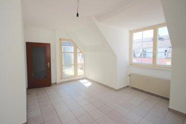 Appartement  très lumineux au 4éme étage dans une résidence tranquille  avec ascenseur,  d'environs  63m2, en plein cœur de la ville d'Esch/Alzette, gare à 3 minutes à pied. Sur La Place Boltgen, café et restaurant et grande terrasse l'été.  Il  se compose  comme suit: - Hall d'entrée avec placard de rangement - Séjour ouvert sur le coin  cuisine ( encore à aménagée ) - 2 chambres à coucher donc une avec accès directe à la salle de douche (avec branchements lave-linge) - WC séparé - Terrasse spacieuse et très tranquille   - Cave individuelle au sous-sol   Remarque: - Idéal pour jeunes couples  ou investissement  - L' ascenseur va jusqu'au 3 ème étage  - Appartement très lumineux - A deux pas du parking public. - Légèrement à rénover, mais à haut potentiel, car très charmant.  Libre de suite!   Les surfaces et les superficies sont indicatives.  Nous sommes aussi disponibles pour les visites le samedi. Selon la disponibilité des propriétaires.  Nous recherchons en permanence pour la vente et pour la location, des appartements, maisons, terrains à bâtir etc pour notre clientèle déjà existante. Achat éventuel par notre société. N'hésitez pas à nous contacter si vous avez un bien pour la vente ou la location.  Estimations gratuites.  Pour l'obtention de votre crédit, notre relation avec nos partenaires financiers (banques luxembourgeoise) vous permettront d'avoir les meilleurs conditions, inclus dans nos services gratuits.  Ref agence :881451