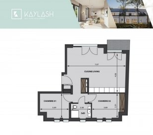 Bel APPARTEMENT de 62,13 m2, au 1e étage d'une résidence à 3 unités, avec Living + Cuisine, Salle de bains, 2 chambres à coucher, Terrasse de 2,15 m2
