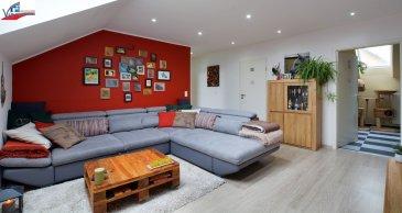 VIP Promotions s.a. vous propose en exclusivité ce splendide appartement rénové en 2016 d'une surface utile de 62,14m², sis au dernier étage d'une résidence d'uniquement 6 unités.  Découvrez notre offre en visite virtuelle:  https://360.immopro.lu/uploads/VIP/  Le bien se compose comme suit:  - Salon convivial - Nouvelle cuisine indépendante et complètement équipée (marque AEG) - 2 chambres à coucher (dont une actuellement aménagée en salle à manger) - Salle de douche munie de branchements pour machine à laver et séchoir - 1 grande cave privative - 1 emplacement privatif de parking extérieur  Points forts:  - Appartement préservant la tranquillité, n'étant pas contourné directement par d'autres logements puisque la chaufferie se trouve entre les deux logements du dernier étage. - L'inclinaison de la toiture est modeste, devenant un atout supplémentaire étant donné qu'on peut profiter des espaces et au même temps d'avoir une certaine intimité, vu que la pente vous protège des regards extérieurs. - L'appartement dispose de grandes fenêtres dans chaque pièce, garantissant de la luminosité ainsi qu'un flux d'air optimal. - Charges modérés compte tenu que le bâtiment dispose de peu d'unités, sans ascenseur et sans société de syndic de copropriété.  Rénovations effectuées:  - Revêtements de sol - Portes ainsi que porte d'entrée - Velux électriques munies de stores électriques - Boiler d'eau chaude - Parlophone - Salle de douche - Cuisine - Peinture - Support mural pour télévision  Divers:  - Disponibilité immédiate - Multitude de possibilités de parking dans les alentours - Travaux de nettoyage de façade prévus pour printemps 2019 - Idéal aussi pour investisseurs - Possibilité d'acquérir certains meubles - Offre à saisir rapidement  Environnement périphérique calme et résidentiel mais au même temps proche de toutes commodités, des grands axes routiers et à proximité de toutes les infrastructures nécessaires.  Pour plus de renseignements ou pour une prise de rendez-vous, v