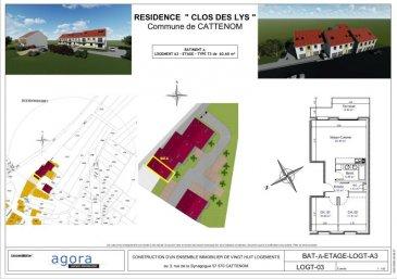 PROGRAMME NEUF CATTENOM-SENTZICH  Cattenom-Sentzich, à 15 mn de Thionville au calme dans un environnement verdoyant et à mi-chemin du Luxembourg,  4 résidences de 4 appartements F3 de GRAND STANDING  Dernières disponibilité, F3 de 60.60 m² en 1er étage avec terrasse, offrant : un hall d'entrée, une cuisine ouverte sur salon-séjour 26 m², accès à une spacieuse terrasse offrant une vue ouverte,  2 chambres de 11.5 et 10 m², une salle de bains de 5.5 m². Larges ouvertures vitrées assurant un ensoleillement optimum.  Très belles prestations dont : - porte sécurisée - vidéophone - double exposition - double vitrage - volets électriques,  - chauffage par le sol et poêle à pellet, - Ballon thermodynamique, radiateur sèche serviette, - Carrelage grès cérame, parquet dans les chambres,  - garage équipé d'une porte motorisée et parking.  Construction en terre cuite ' Isolation extérieure Prestations électriques et sanitaires de haute qualité  Prévision DPE : B livraison 3ème TRIM. 2022, RT2012, FRAIS DE NOTAIRE RÉDUITS env. 2.5 %  A partir de 169 620 ' le F3 Honoraires à la charge du vendeur Garage 10 000 euros / Parking privatif 3 000 euros   POUR PLUS DE DÉTAILS, CONSULTEZ-NOUS  Agora Immobilier Thionville : 03 82 54 77 77