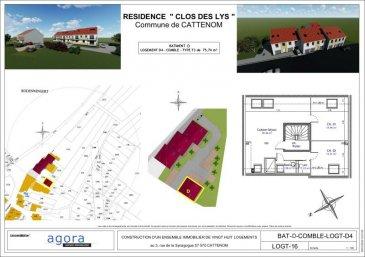 Agora Immobilier vous propose à Cattenom-Sentzich <br />15 mn de Thionville et à mi-chemin du Luxembourg<br /><br />Programme neuf LE CLOS DES LYS<br />4 résidences de 4 appartements de GRAND STANDING<br /><br />Encore disponible, lumineux appartement traversant F3 au 2ème et dernier étage de 100 m² au sol et 75 m² en carrez, offrant :<br /><br />un hall d\'entrée, une cuisine ouverte sur salon-séjour 39.5 m², <br />2 chambres de 13.5 et 17.5 m², une salle de bains de 4 m².<br /><br />Très belles prestations dont :<br />- porte sécurisée<br />- vidéophone<br />- double exposition<br />- double vitrage<br />- volets électriques, <br />- chauffage par le sol et poêle à pellet.<br />- Ballon thermodynamique, radiateur sèche serviette,<br />- Carrelage grès cérame, parquet dans les chambres, <br />- garage équipé d\'une porte motorisée et parking.<br /><br />Construction en terre cuite ' Isolation extérieure<br />Prestations électriques et sanitaires de haute qualité<br /><br />Prévision DPE : B<br />RT2012, FRAIS DE NOTAIRE RÉDUITS env. 2.5 %<br />LIVRAISON 3ème TRIM. 2022<br /><br />A partir de 202 924 ' l\'appartement F3<br />Garage 10 000 ' - parking 3 000 ' <br /><br />Honoraires à la charge du vendeur<br /><br />POUR PLUS DE DÉTAILS, CONSULTEZ-NOUS <br />Agora Immobilier Thionville : 03 82 54 77 77