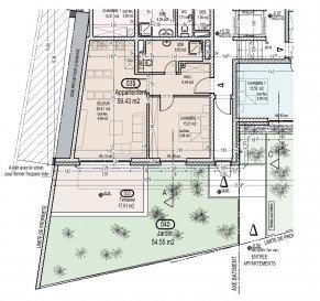 Votre agence IMMO LORENA de Pétange vous propose dans une résidence contemporaine en future construction de 13 unités sur 4 niveaux située à Rodange, 45 chemin de Brouck, un appartement 1 chambre, d'une surface habitable 59,43 m2 se décomposant de la façon suivante :  - Cuisine-salon-salle à manger de 29,41 m2,  - Chambre de 15,21 m2,  - Salle de bain de 6,83 m2 - Un hall d'entrée de 6,44 m2,  - Terrasse de 17,01 m2 - Pelouse privative de 54,55 m2,  - Un 1 cave  Possibilité d'acquérir un emplacement intérieur (25.000 €) ou un garage fermé intérieur (35.000€).Cette résidence de performance énergétique AB construite selon les règles de l'art associe une qualité de haut standing à une construction traditionnelle luxembourgeoise, châssis en PVC triple vitrage, ventilation double flux, chauffage au sol, video - parlophone, système domotique, etc... Avec des pièces de vie aux beaux volumes et lumineuses grâce à de belles baies vitrées.  Ces biens constituent entres autre de par leur situation, un excellent investissement. Le prix comprend les garanties biennales et décennales et une TVA à 3%. Livraison prévue septembre 2021.  Pour tout contact: Joanna RICKAL +352 621 36 56 40 Vitor Pires: +352 691 761 110   L'agence Immo Lorena est à votre disposition pour toutes vos recherches ainsi que pour vos transactions LOCATIONS ET VENTES au Luxembourg, en France et en Belgique. Nous sommes également ouverts les samedis de 10h à 19h sans interruption. Demander plus d'informations
