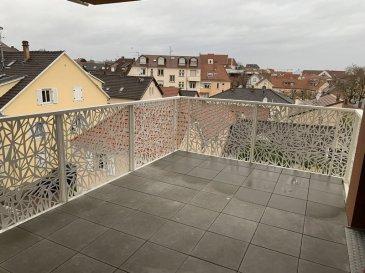 Appartement F3 - 65m2 - Bischheim. Dans une copropriété neuve, à Bischheim, dans un environnement calme, nous proposons à la location, un apparemment de type F3 situé au 3ème étage avec ascenseur. Il comprend: une entrée, un séjour avec cuisine nue ouverte, deux chambres, un WC séparé et une salle de bain. Cet appartement dispose également d'une terrasse et d'une cave. Chauffage et eau chaude collectif, inclus dans les charges. Disponible immédiatement.  Surface habitable: 65.63m2  Loyer: 790€ par mois charges comprises dont 120€ de provisions charges (régularisation annuelle). Dépôt de garantie: 670€  Honoraires à la charge du locataire: 692.115€ TTC dont 196.89€ pour l'état des lieux. Loyer 790.00  euros par mois  Charges comprises dont - 120.00  euros de provision sur charges - régularisation annuelle  Honoraires charge locataire : 692.11 euros TTC dont 196.89 euros TTC pour état des lieux