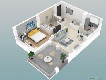 Les Résidences d\'Annerey.  VISITEZ L\'APPARTEMENT ET LA RESIDENCE EN 3D SUR SIMPLE DEMANDE PAR MAIL.  Ennery :  Appartement de type F2 de 47m² au 1er étage, composé d\'une entrée, une cuisine ouverte sur séjour, 1 chambre, 1 WC séparé, une SDB et une terrasse de 13m².  Prestations haut de gamme : Ascenseur, volets roulants électriques, vidéophone, WC suspendu avec lave-mains, SDB équipée (douche, meuble vasque, miroir, réglette d\'éclairage, sèche-serviette), porte blindée, plancher chauffant gaz, compteurs individualisés, RT 2012, ...  Environnement calme et proche de toutes commodités, vue dégagée sur la nature.  Immeuble soumis au statut de la copropriété, la quote part annuelle de charges s\'élève à 600 euro. Prix: 136000euro.