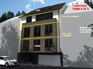 Appartement en vente VEFA d'une surface de 89.56m² se compose de 3 chambres à coucher, emplacement pour une voiture, balcon, cave, buanderie.  Cette construction d'un style moderne est situé à Wiltz sur la rue du Pont. Livraison prévue 12 mois après signature de l'acte notarié  2ième étage: 89.56m², 3 chambres, parking, cave, buanderie.  Prix: 334.383  avec 3% de TVA après accord du bureau de l'enregistrement pour l'application de la TVA super réduite.  Plans et cahier de charges à disposition sur simple demande. N'hésitez pas à nous contacter: Bureau: 28 77 80 57 GSM: 691 080 103 ou 691 860 584  Visitez nous en agence: 43 rue d'Anvers L-1130 Luxembourg