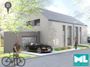 Nouveau lotissement « IN DER ACHT » à Berbourg. Il s'agit d'une maison jumelée à construire avec notre partenaire Maisons Loginter S.A., d'une surface habitable de 145 m², érigée sur un terrain de 4.27 ares.  - Description-  Le lot 18 se compose comme suit :  Rez-de-jardin:  -Hall, cuisine ouverte sur le grand séjour avec accès sur la terrasse, cave, WC séparé, local technique et buanderie  Rez-de-chaussée:  - Hall d'entrée, 1 chambre à coucher, salle de douche, dressing, débarras, garage pour 1 voiture   1er étage:  - Hall/bureau, 2 chambres à coucher, salle de bain  - Informations supplémentaires -  Le prix est affiché avec 3% TVA inclus.  - Localisation -  Autoroute: +- 10  km Aéroport: + - 26 km  Commodités aux alentours : crèche, école primaire, lycée, supermarché, restaurants, cafés.  - Classe Énergétique -  AAA  N'hésitez pas à nous contacter pour tout renseignement supplémentaire ou pour un rendez-vous à l'agence, soit par mail contact@b-immobilier.lu, soit par téléphone au numéro +352 26 44 13 88.  ---Sous toutes réserves---  Ref agence :7074