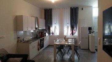 Appartement en rez de chaussée avec entrée individuelle, comprenant pièce à vivre avec coin cuisine équipée, 1 chambre, salle de bains et WC.