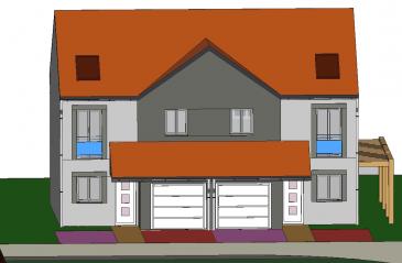 A Piedmont (Mont-Saint-Martin), dans un environnement calme, Nouveau lotissement, proche commodités, Maison jumelée, 1 garage 1 voiture, 2 places de parking, RDC: entrée, cuisine ouverte sur séjour (34.80m²), w-c (1.70m²), ETAGE:  3 chambres(9.6/12.4/12.5m²), SDB avec w-c (6.20m²),  palier (3.30m²),  sur 2.46 ares de terrain. Livraison prévue au 3èmeTrimestre 2022.