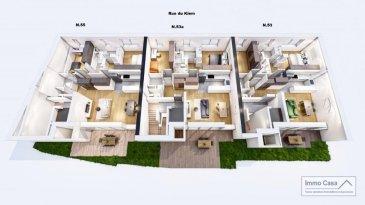 Immo Casa vous propose une nouvelle résidence située dans le quartier du Kiem à Luxembourg-Neudorf offrant des prestations de très haut standing.<br><br>Trois immeubles de 3 étages composé de 9 logements dont 3 penthouses.<br><br>Les appartements bénéficieront de 2 orientations ce qui permettra une luminosité optimale puisqu\'ils seront traversants.<br><br>Nous vous proposons par exemple au n°55, rue du Kiem au 1er étage, ce logement comprenant une cuisine ouverte sur le salon donnant accès sur une terrasse (19m2), 2 chambres à coucher, deux salles de douche, un wc séparé, une cave et un jardin.<br>La conception à l\'arrière du bâtiment permettra aux résidents d\'accéder à leur jardin privatif.<br><br>Les prix affichés avec la TVA de 3%<br><br>Possibilité d\'acquérir une place de stationnement intérieur à 55 000 € HTVA.<br><br>Pour d\'autres informations veuillez contacter l\'agence.