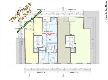 Votre agence IMMO LORENA de Pétange vous propose dans une résidence contemporaine en future construction de 8 unités sur 3 niveaux située à Pétange, 110, route de Luxembourg, un appartement au premier étage de 82,28 m2 décomposé de la façon suivante:  - Hall d'entrée -Double living de 39,05 m2 donnant accès à la terrasse de 4,17 m2 - WC séparé de 1,40 m2 - Débarras de 2,11 m2 - Salle de douche de 4,85 m2 - Deux chambres de 10,25 m2 et 13,83 m2  - Une cave privative, un emplacement pour lave-linge et sèche-linge au sous sol. Possibilité d'acquérir un emplacement intérieur (28.840 €)TTC 3%  Cette résidence de performance énergétique AB construite selon les règles de l'art associe une qualité de haut standing à une construction traditionnelle luxembourgeoise, châssis en PVC triple vitrage, ventilation double flux, radiateurs, video - parlophone, etc... Avec des pièces de vie aux beaux volumes et lumineuses grâce à de belles baies  Ces biens constituent entres autre de par leur situation, un excellent investissement. Le prix comprend les garanties biennales et décennales et une TVA à 3%. Livraison prévue 2023.  1,5% du prix de vente à la charge de la partie venderesse + 17% TVA Pas de frais pour le futur acquéreur   À VOIR ABSOLUMENT!  Pour tout contact: Joanna RICKAL: 621 36 56 40  Vitor Pires: 691 761 110  Kevin Dos Santos: 691 318 013  L'agence Immo Lorena est à votre disposition pour toutes vos recherches ainsi que pour vos transactions LOCATIONS ET VENTES au Luxembourg, en France et en Belgique. Nous sommes également ouverts les samedis de 10h à 19h sans interruption.