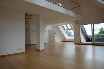 Beau duplex/penthouse de 253 m2 situé au dernier étage d'une résidence construite en 1990 sise dans le quartier de Luxembourg-Cents.  Le duplex dispose de :  Etage 3 : Grand hall d'entrée, cuisine équipée avec accès au balcon (Sud), grand living/salle à manger lumineux avec accès au 2 terrasses (orientées Nord et Sud), 2 chambres à coucher, 1 salle de douche + WC, 1WC séparé, armoire encastrée et débarras/buanderie.  Etage 4 : Grande mezzanine (idéal comme bureau), 1 chambre à coucher avec accès à la belle salle de bains avec douche et WC ainsi qu'accès direct au dressing.  Objet rare.   A voir absolument.  On dispose également d'une cave et de 2 emplacements intérieurs.