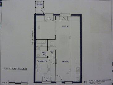 A Piedmont (Mont-Saint-Martin), dans un environnement calme, Nouveau lotissement, proche commodités, Maison Mitoyenne de plain pied avec 2 places de parking, cuisine ouverte sur séjour (52.20m²), 1 chambre (11.20m²), SDB avec w-c (5.20m²), dégagement (1.50m²),  sur 2.12 ares de terrain. Livraison prévue au 1er Trimestre 2022.