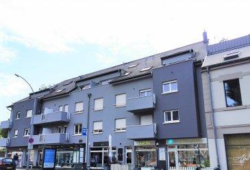 Grand et lumineux Appartement sur 2 étages (100.94m2 +54.78m2=+/-155.72m2) avec ascenseur.  Cet appartement est situé au 3e et 4e étage d'une résidence récente (2010) et bien entretenue avec ascenseur.  L'appartement se compose comme suit :   Au premier étage de l'appartement, on trouve :   - Hall d'entrée,   - Grand living (+/- 50m2) avec cuisine ouverte et coin débarras donnant accès à un balcon de +/- 5m2,   - Deux chambres à coucher de +/-1 7m2 et +/- 22m2 (+deuxième balcon, côté Sud, de +/- 8m2 avec vue sur verdure),   - Salle de douche avec WC,   A l'étage : Un espace ouvert (+/-40m2) avec accès à une salle de bains bien équipée dont un Jacuzzi et un raccordement pour machine à laver.  L'appartement dispose d'un emplacement au sous-sol, bien accessible, de 14.01m2 (même pour SUV)  L'appartement peut être vendu avec certains meubles.  Excellente connexion de transports publics pour rejoindre Luxembourg Ville (5min), le Kirchberg (10min) et le Findel (15min).   Hôpital, centres commerciaux, écoles, aire de jeux à proximité !  Arrêt de bus devant la résidence   Nous sommes, en permanence, à la recherche de nouveaux biens à acheter (terrains, maisons) et à vendre (appartements).    Schwätze Lëtzebuergesch: All Informatiounen kennt dir gären och op Lëtzebuergesch kréien!    Spreche Deutsch: Alle Informationen können Sie gerne auch auf Deutsch bekommen!    Speak English: We can provide you all the Information in English!