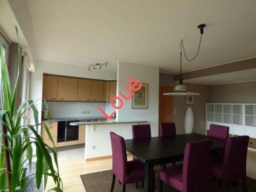 Loué !!!!    Loué!!!!   Loué!!!! Monia SOUILMI (691212946), RE/MAX, spécialiste de l'immobilier à Itzig, vous propose ce magnifique appartement meublé et de style moderne en location. L'appartement est situé au 1er étage dans une résidence calme et bien entretenue. La surface habitable fait 98m² environ.  L'appartement se compose de: - un grand living avec cuisine équipée ouvrant sur un balcon exposé sud et sans vis-à-vis qui vous permettra de profiter du calme et de la nature. -Deux chambres : une à coucher et l'autre pour bureau et dressing - Salle de bain avec baignoire et douche -WC séparé  -Hall avec armoire encastré - Une buanderie privée - Un grand garage pour deux voitures et un emplacement à l'extérieur  Jardin commun bien entretenu.    Bien à louer disponible pour le mois d'octobre,  visitez-le sans tarder!  Pour toutes types de transactions immobilières; Ventes, Achats, Locations!!! N'hésitez pas à me contacter en exclusivité par -GSM: 691212946 -E-mail: monia.souilmi@remax.lu    Ref agence :5095682