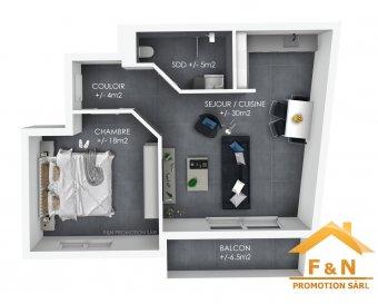 Belle appartement de +/-57 + balcon de +/-7m2, situé au 1er étage, dans une toute nouvelle résidence.  L'appartement se compose comme suit :  -un hall d'entrée  -living avec une cuisine ouverte (équipée) -une chambre à coucher -une salle de douche - balcon - cave - un emplacement intérieur  D'autres équipements supplémentaires de l'appartement comprennent le chauffage au sol, triple vitrage, les volets roulants électriques, la ventilation mécanique double flux, l'isolation acoustique, l'isolation thermique, etc.  Si vous avez des questions ou souhaitez faire une visite, n'hésitez pas à envoyer un email à info@fn-promotion.lu ou appeler le +352 621 139 988  ----  Schöne Wohnung mit einer Wohnfläche von +/-57m2 + Balkon mit +/-7m2, auf dem 1. Obergeschoss liegend in einer erst neu gebauten Residenz.  Die Wohnung setzt sich folgend zusammen: - Eingangshalle - Wohnzimmer mit offener Küche (eingebaut) - ein Schlafzimmer - ein Badezimmer - einen Balkon - ein Keller - Stellplatz im inneren des Gebäudes  Außerdem verfügt die Wohnung über eine Bodenheizung, Dreifachverglasung, elektrische Rolläden, mechanische Ventilation, akustische Isolation, thermische isolation, etc.  Sollten Sie weitere Fragen haben, oder eine Besichtigung wünschen, so zögern Sie bitte nicht uns auf info@fn-promotion.lu zu schreiben, oder rufen Sie uns unter der +352 621 139 988 an.