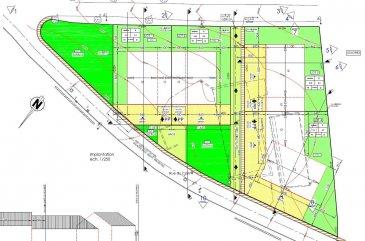 Beau terrain  à bâtir (N° 1) de 5a74 pour la construction d'une maison jumelée par les garages.  Le terrain est vendu libre de contrat de construction.  La rue du coin est situé au centre du village de Hostert.